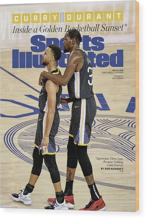 Magazine Cover Wood Print featuring the photograph Curry Durant Inside A Golden Basketball Sunset Sports Illustrated Cover by Sports Illustrated