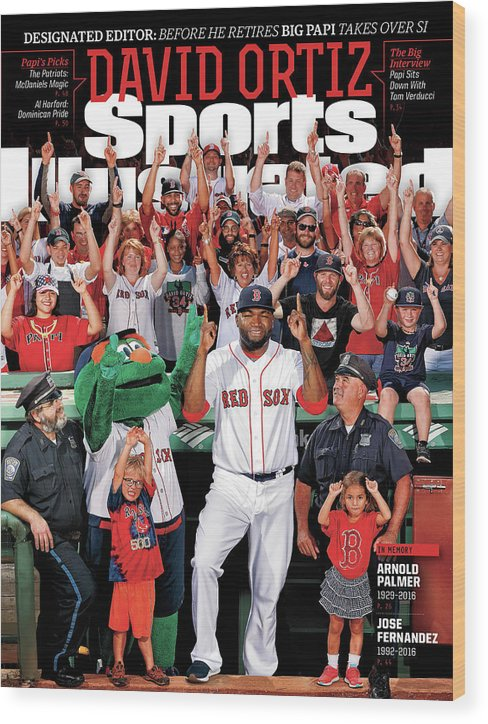 Magazine Cover Wood Print featuring the photograph David Ortiz, Designated Editor Before He Retires Big Papi Sports Illustrated Cover by Sports Illustrated