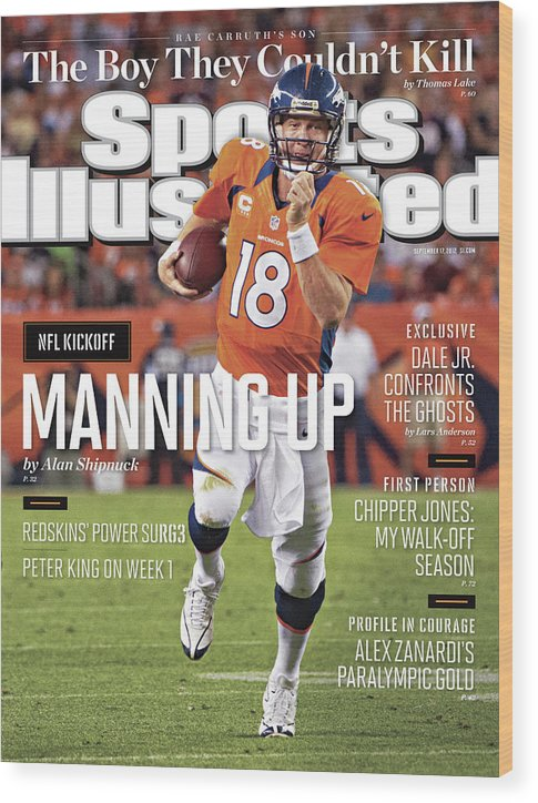 Magazine Cover Wood Print featuring the photograph Denver Broncos Vs Pittsburgh Steelers Sports Illustrated Cover by Sports Illustrated
