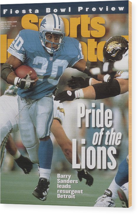 Magazine Cover Wood Print featuring the photograph Detroit Lions Barry Sanders... Sports Illustrated Cover by Sports Illustrated