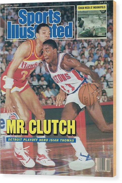 Atlanta Wood Print featuring the photograph Detroit Pistons Isiah Thomas, 1987 Nba Eastern Conference Sports Illustrated Cover by Sports Illustrated