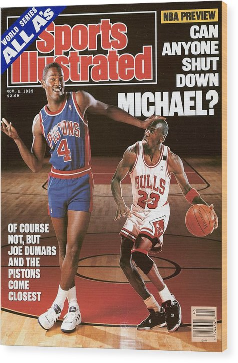 Magazine Cover Wood Print featuring the photograph Detroit Pistons Joe Dumars, 1989 Nba Basketball Preview Sports Illustrated Cover by Sports Illustrated