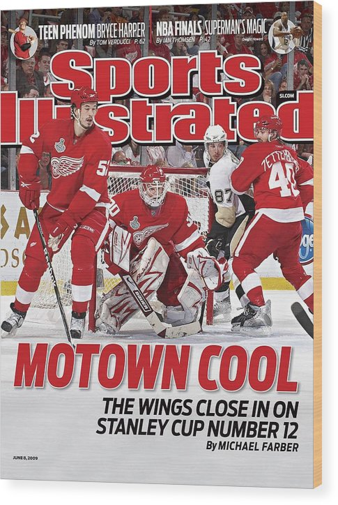 Magazine Cover Wood Print featuring the photograph Detroit Red Wings Goalie Chris Osgood, 2009 Nhl Stanley Cup Sports Illustrated Cover by Sports Illustrated
