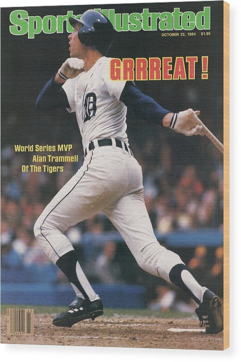 Magazine Cover Wood Print featuring the photograph Detroit Tigers Alan Trammell, 1984 World Series Sports Illustrated Cover by Sports Illustrated