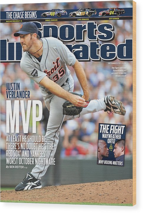 Magazine Cover Wood Print featuring the photograph Detroit Tigers V Minnesota Twins Sports Illustrated Cover by Sports Illustrated