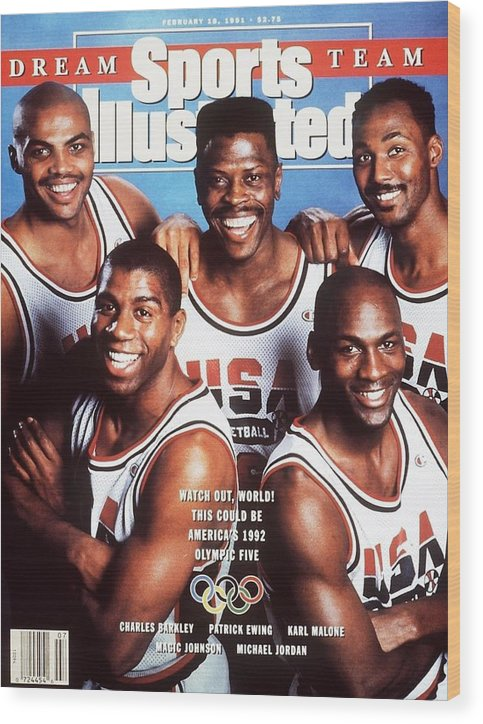 The Olympic Games Wood Print featuring the photograph Dream Team, 1992 Barcelona Olympic Games Preview Sports Illustrated Cover by Sports Illustrated