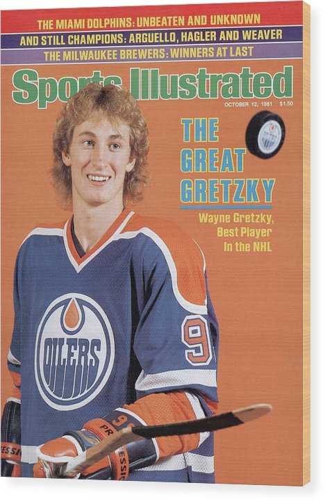 Magazine Cover Wood Print featuring the photograph Edmonton Oilers Wayne Gretzky Sports Illustrated Cover by Sports Illustrated