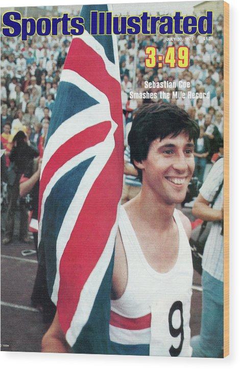 Magazine Cover Wood Print featuring the photograph England Sebastian Coe, 1979 Iaaf Dubai Golden Mile Sports Illustrated Cover by Sports Illustrated