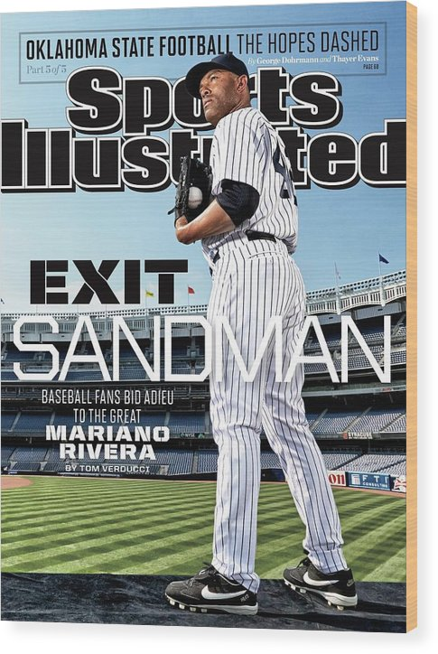 Magazine Cover Wood Print featuring the photograph Exit Sandman Baseball Fans Bid Adieu To The Great Mariano Sports Illustrated Cover by Sports Illustrated