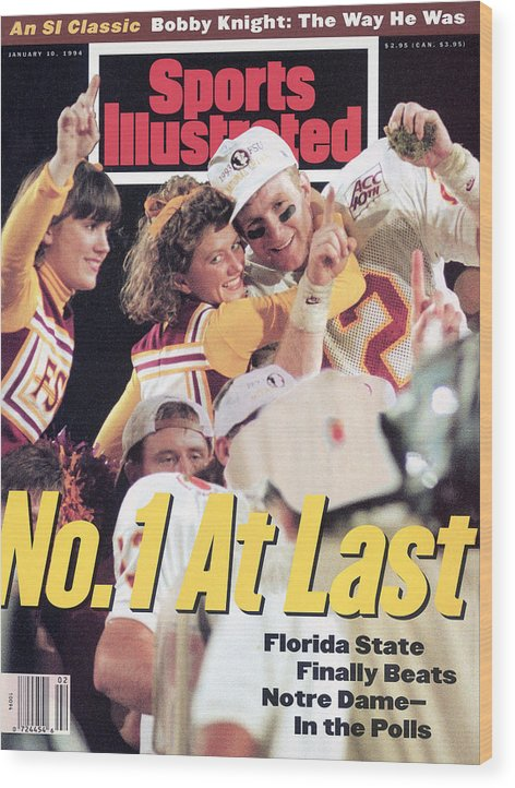Magazine Cover Wood Print featuring the photograph Florida State University Matt Frier, 1994 Fedex Orange Bowl Sports Illustrated Cover by Sports Illustrated
