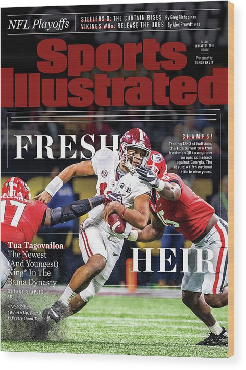 Atlanta Wood Print featuring the photograph Fresh Heir Tua Tagovailoa, The Newest And Youngest King* In Sports Illustrated Cover by Sports Illustrated