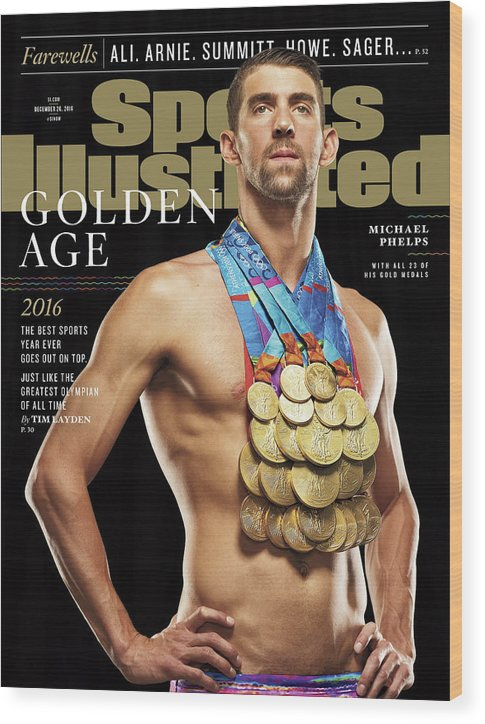 Magazine Cover Wood Print featuring the photograph Golden Age Michael Phelps Sports Illustrated Cover by Sports Illustrated