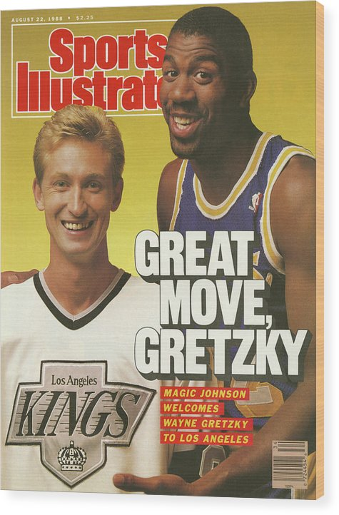 Magazine Cover Wood Print featuring the photograph Great Move, Gretzky Magic Johnson Welcomes Wayne Gretzky To Sports Illustrated Cover by Sports Illustrated