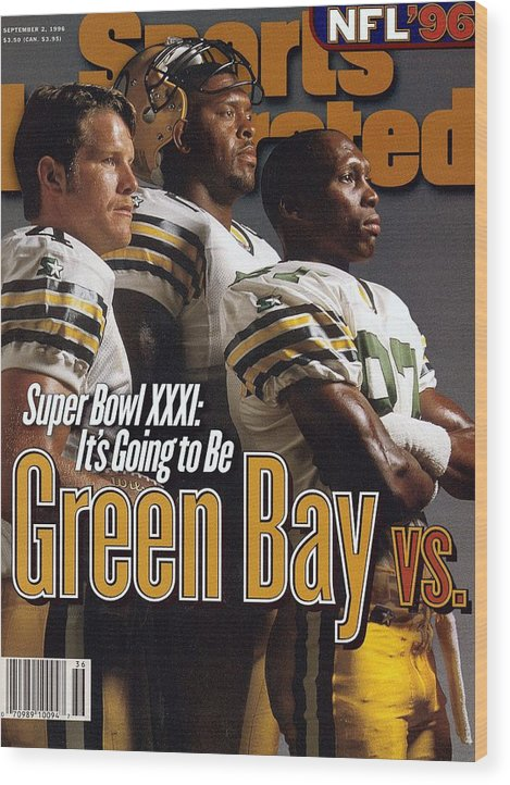 Green Bay Wood Print featuring the photograph Green Bay Packers, 1996 Nfl Football Preview Issue Sports Illustrated Cover by Sports Illustrated
