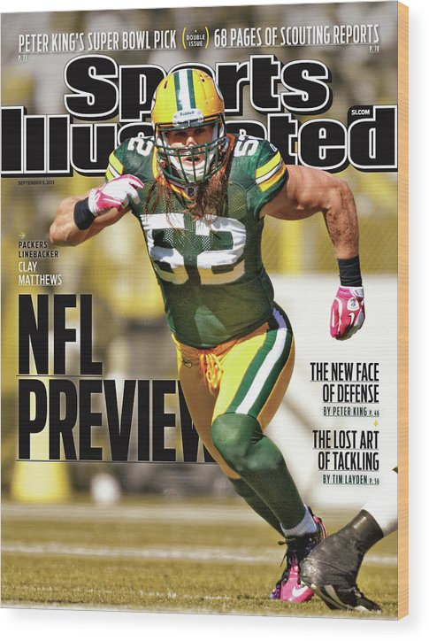 Green Bay Wood Print featuring the photograph Green Bay Packers Clay Matthews, 2011 Nfl Football Preview Sports Illustrated Cover by Sports Illustrated