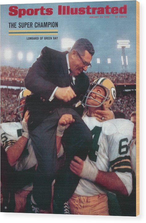 Magazine Cover Wood Print featuring the photograph Green Bay Packers Coach Vince Lombardi, Super Bowl II Sports Illustrated Cover by Sports Illustrated