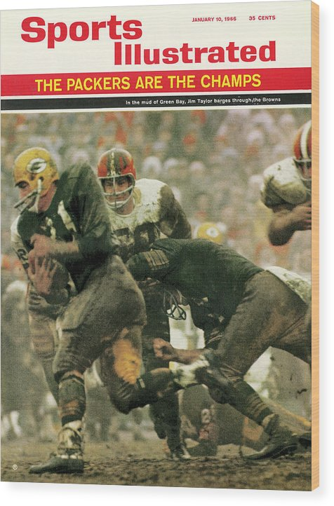 Green Bay Wood Print featuring the photograph Green Bay Packers Jimmy Taylor, 1966 Nfl Championship Sports Illustrated Cover by Sports Illustrated