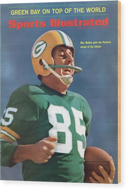 Sports Illustrated Wood Print featuring the photograph Green Bay Packers Max Mcgee, Super Bowl I Sports Illustrated Cover by Sports Illustrated