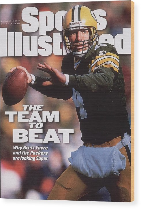 Brett Favre Wood Print featuring the photograph Green Bay Packers Qb Brett Favre... Sports Illustrated Cover by Sports Illustrated