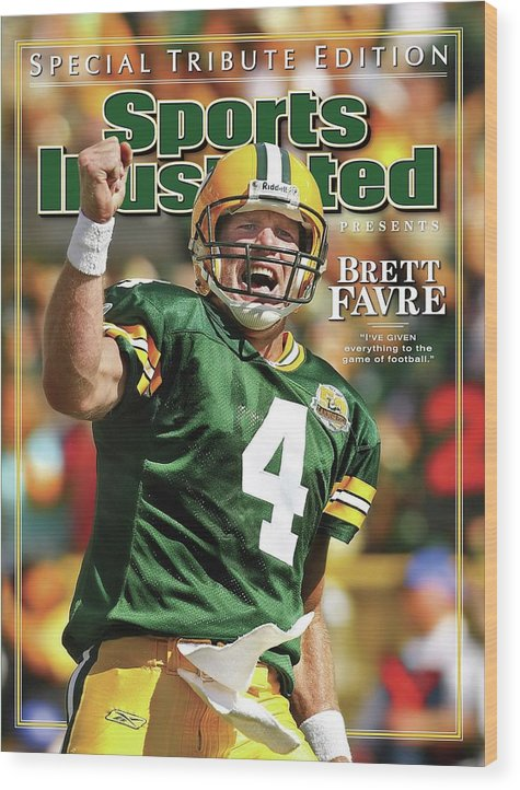 Green Bay Wood Print featuring the photograph Green Bay Packers Qb Brett Favre Special Tribute Edition Sports Illustrated Cover by Sports Illustrated