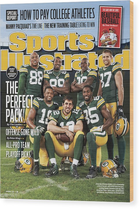 Green Bay Wood Print featuring the photograph Green Bay Packers The Perfect Pack Sports Illustrated Cover by Sports Illustrated