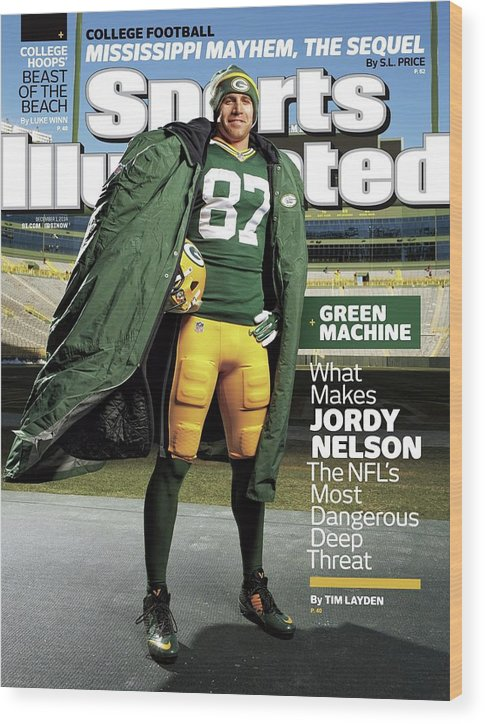 Green Bay Wood Print featuring the photograph Green Machine What Makes Jordy Nelson The Nfls Most Sports Illustrated Cover by Sports Illustrated