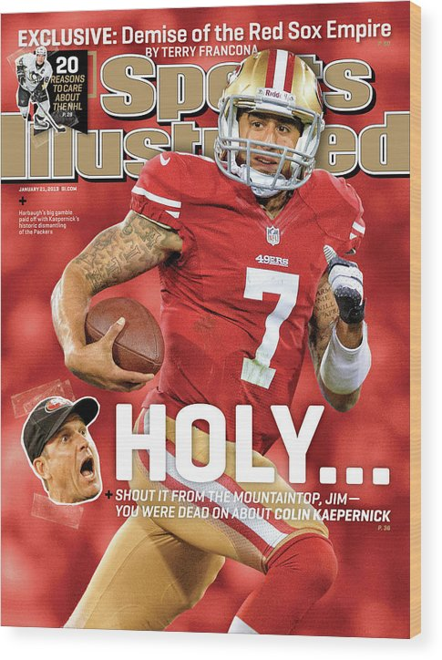 Candlestick Park Wood Print featuring the photograph Holy . . . Colin Kaepernick Of The San Francisco 49ers Sports Illustrated Cover by Sports Illustrated