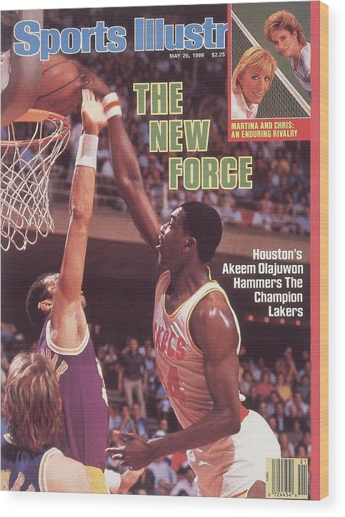Magazine Cover Wood Print featuring the photograph Houston Rockets Akeem Olajuwon, 1986 Nba Western Conference Sports Illustrated Cover by Sports Illustrated