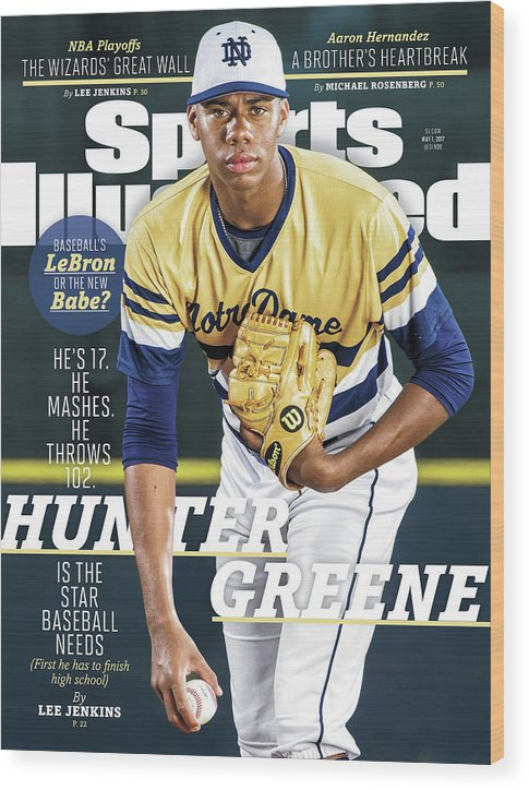 Magazine Cover Wood Print featuring the photograph Hunter Greene Is The Star Baseball Needs Sports Illustrated Cover by Sports Illustrated