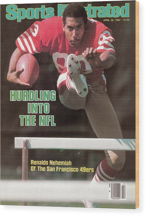 Candlestick Park Wood Print featuring the photograph Hurdling Into The Nfl Renaldo Nehemiah Of The San Francisco Sports Illustrated Cover by Sports Illustrated