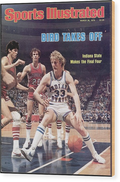 Playoffs Wood Print featuring the photograph Indiana State Larry Bird, 1979 Ncaa Midwest Regional Sports Illustrated Cover by Sports Illustrated