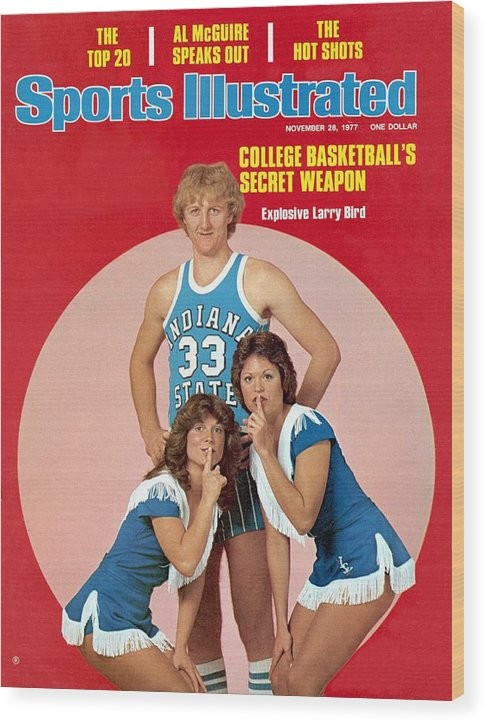 Magazine Cover Wood Print featuring the photograph Indiana State Larry Bird Sports Illustrated Cover by Sports Illustrated
