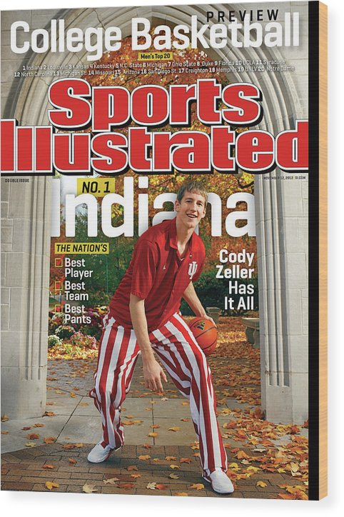 Season Wood Print featuring the photograph Indiana University Cody Zeller, 2012-13 College Basketball Sports Illustrated Cover by Sports Illustrated