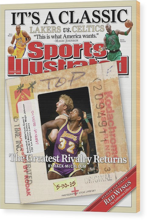 Magazine Cover Wood Print featuring the photograph Its A Classic, Lakers Vs. Celtics The Greatest Rivalry Sports Illustrated Cover by Sports Illustrated