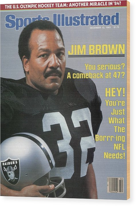 Magazine Cover Wood Print featuring the photograph Jim Brown, Retired Football Player Sports Illustrated Cover by Sports Illustrated