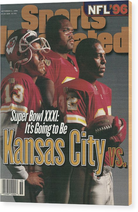 Marcus Allen Wood Print featuring the photograph Kansas City Chiefs, 1996 Nfl Football Preview Issue Sports Illustrated Cover by Sports Illustrated