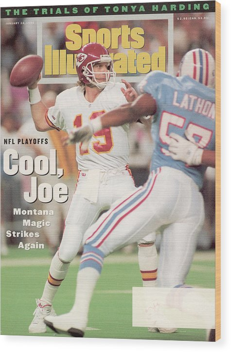 Playoffs Wood Print featuring the photograph Kansas City Chiefs Qb Joe Montana, 1994 Afc Championship Sports Illustrated Cover by Sports Illustrated