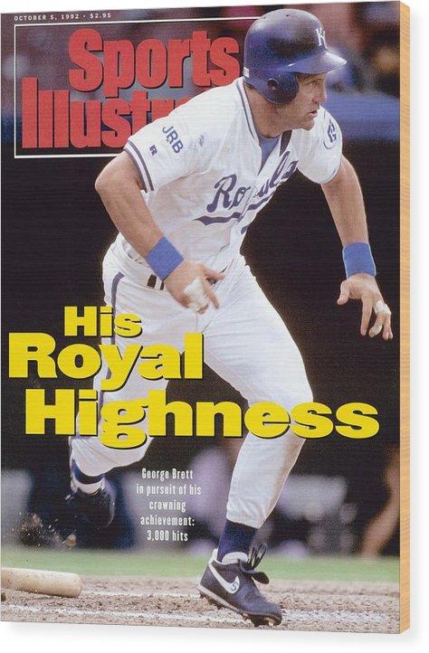 Magazine Cover Wood Print featuring the photograph Kansas City Royals George Brett... Sports Illustrated Cover by Sports Illustrated