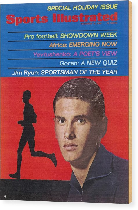 Magazine Cover Wood Print featuring the photograph Kansas Jim Ryun, 1966 Sportsman Of The Year Sports Illustrated Cover by Sports Illustrated