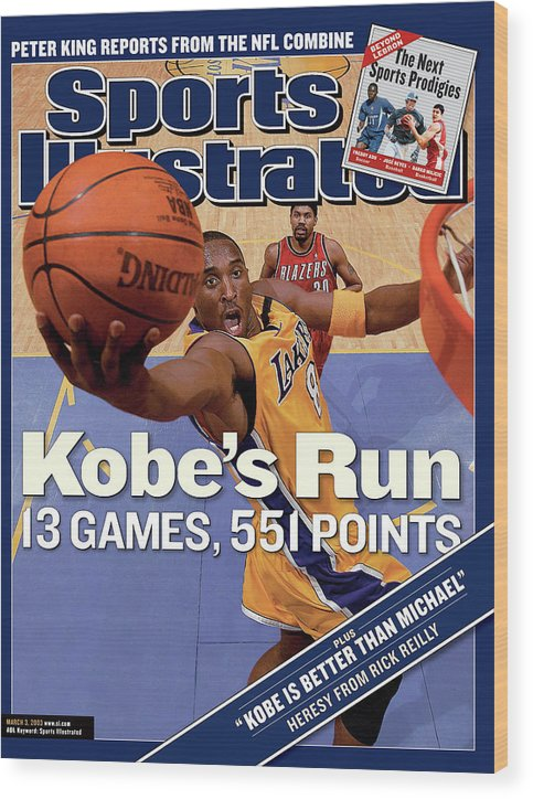 Magazine Cover Wood Print featuring the photograph Kobes Run 13 Games, 551 Points Sports Illustrated Cover by Sports Illustrated