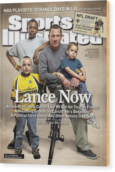 Magazine Cover Wood Print featuring the photograph Lance Now Attacking His New Career Like He Did The Tour De Sports Illustrated Cover by Sports Illustrated