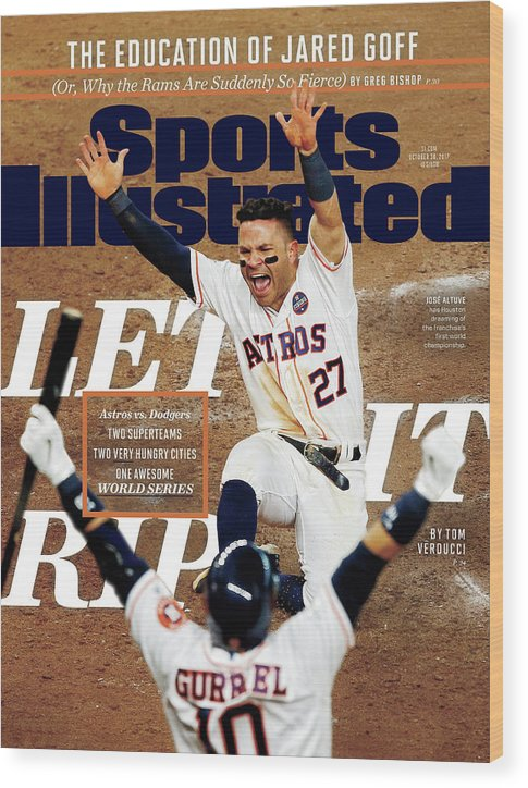 Yulieski Gourriel Wood Print featuring the photograph Let It Rip 2017 World Series Preview Issue Sports Illustrated Cover by Sports Illustrated