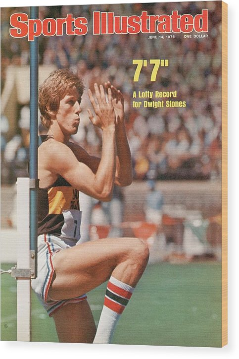 Magazine Cover Wood Print featuring the photograph Long Beach State Dwight Stones, 1976 Ncaa Championships Sports Illustrated Cover by Sports Illustrated