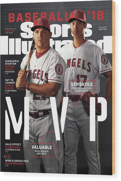 Tempe Diablo Stadium Wood Print featuring the photograph Los Angeles Angels Of Anaheim Mike Trout And Shohei Ohtani Sports Illustrated Cover by Sports Illustrated