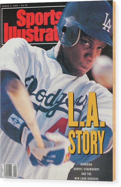 Magazine Cover Wood Print featuring the photograph Los Angeles Dodgers Darryl Strawberry Sports Illustrated Cover by Sports Illustrated