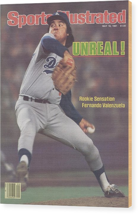 Magazine Cover Wood Print featuring the photograph Los Angeles Dodgers Fernando Valenzuela... Sports Illustrated Cover by Sports Illustrated