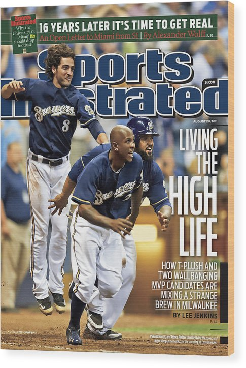Magazine Cover Wood Print featuring the photograph Los Angeles Dodgers V Milwaukee Brewers Sports Illustrated Cover by Sports Illustrated