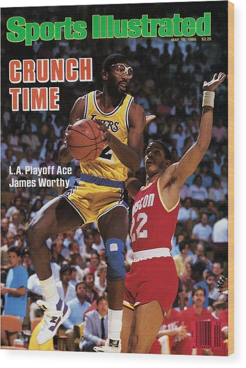 Playoffs Wood Print featuring the photograph Los Angeles Lakers James Worthy, 1986 Nba Western Sports Illustrated Cover by Sports Illustrated
