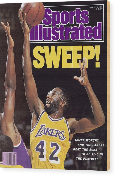 Magazine Cover Wood Print featuring the photograph Los Angeles Lakers James Worthy, 1989 Nba Western Sports Illustrated Cover by Sports Illustrated