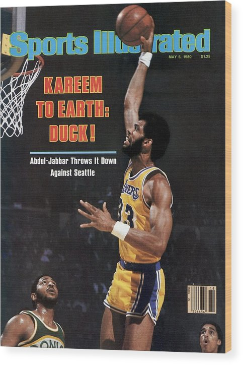 Magazine Cover Wood Print featuring the photograph Los Angeles Lakers Kareem Abdul-jabbar, 1980 Nba Western Sports Illustrated Cover by Sports Illustrated